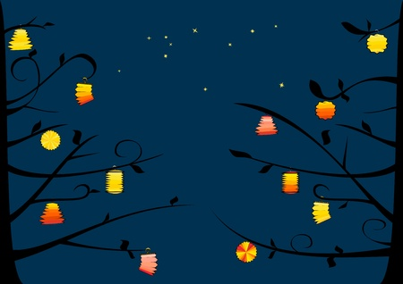 Lanterns on the tree and night sky Vector