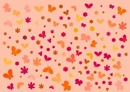 Wallpaper with butterflies Illustration