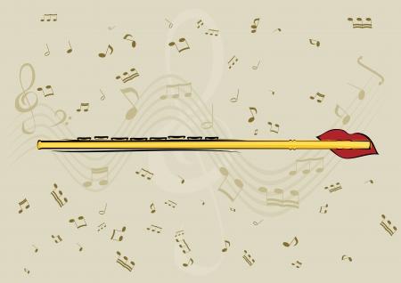 partition musique: Flute, les lèvres et la note en arrière-plan Illustration