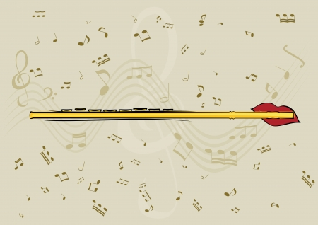 Flute, lips and note in background Vector