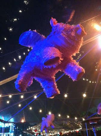 flying pig: A flying pig piata at a party