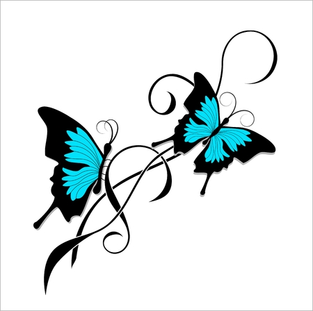 Tattoo butterflies tribal Vector