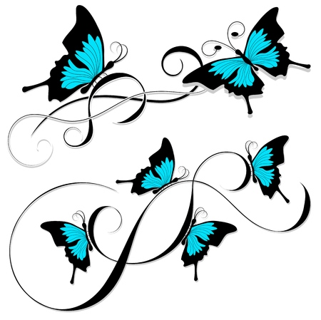 Tattoo butterflies tribal Ilustrace