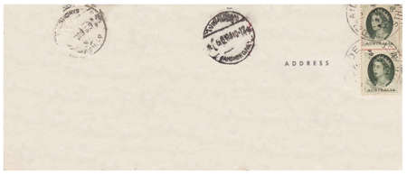 old photograph: Back of an old postcard from 1964.Old postcard isolated on the white background. Can be used as background.