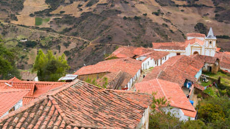 Red roofs of houses in a rural town in the Venezuelan Andes