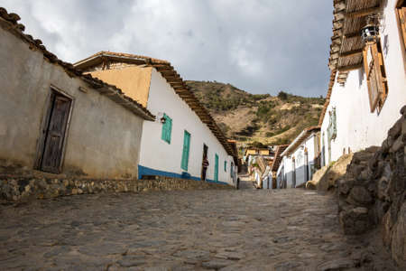 road on a rural town at venezuelan andes