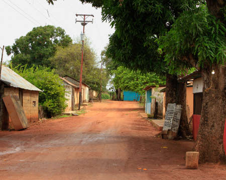 rural town with houses on road Imagens