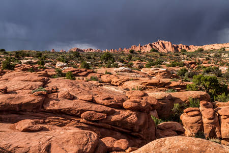 storm rear red mountain, rare formations, arches national park Stockfoto