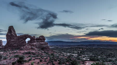 sunset at windows sections, red mountain, rare formations, arches national park