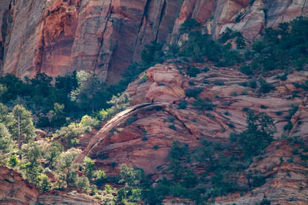 natural arch red mountains zion national park Stockfoto
