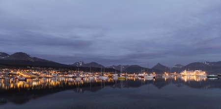 view of Ushuaia city at night