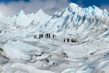walking on the top of a glacier