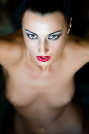 Beautiful naked woman with red lips Imagens