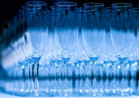 Close up of rows of champagne glasses