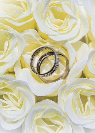 Close-up of wedding rings and roses Stock Photo - 7580241