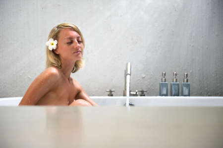 Beautiful young woman enjoying the bubble bath Stock Photo - 8157686