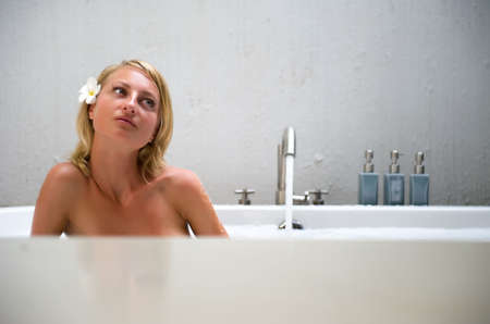 Beautiful young woman enjoying the bubble bath Stock Photo - 8157690