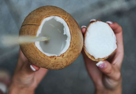 Coconut in hand  photo