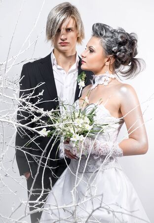 Bride and groom indoors Stock Photo - 8774171