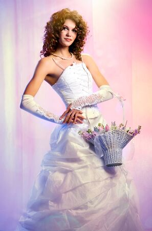 Beautiful bride with a bouquet of flowers Stock Photo - 8975262