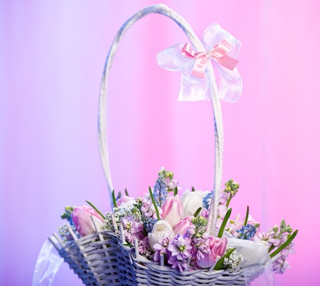 Beautiful spring flowers in a basket photo