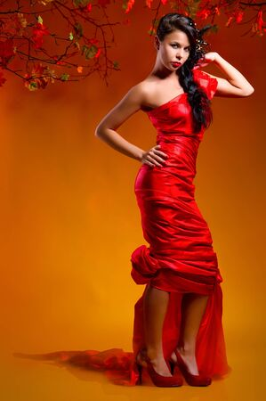 Beautiful woman in red dress indoors  Stock Photo - 9043630