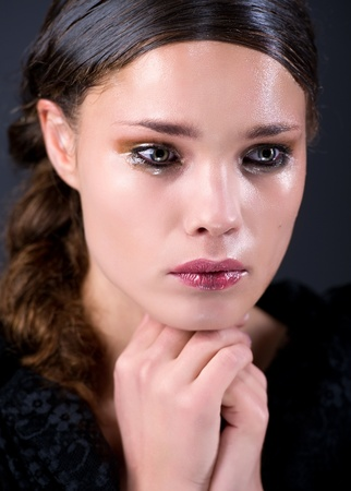 sad eyes: Crying young woman Stock Photo