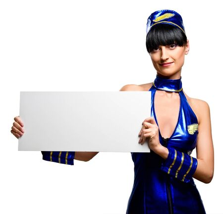 Beautiful woman holding empty white board photo
