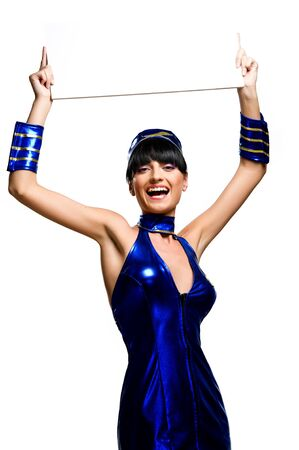 Beautiful cheerful woman holding empty white board photo