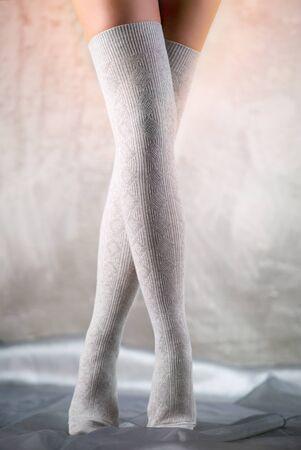 Beautiful woman legs in cotton stockings Stock Photo - 9225650