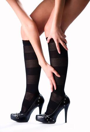 Beautiful female legs and high heels photo