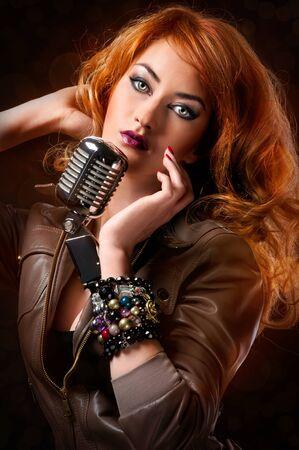Beautiful redhead singer photo