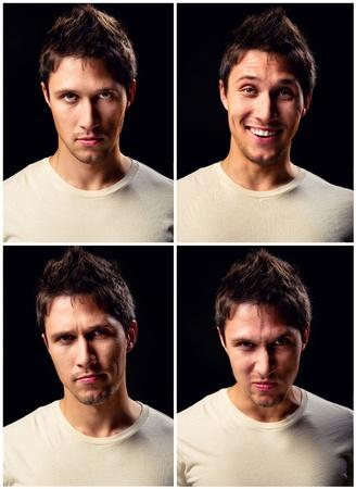 Jóképű fiatalember különböző arckifejezések Stock fotó
