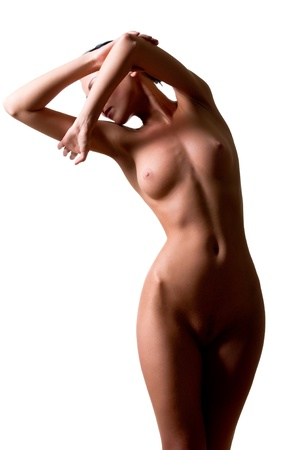 undressed: Beautiful female body isolated over white background