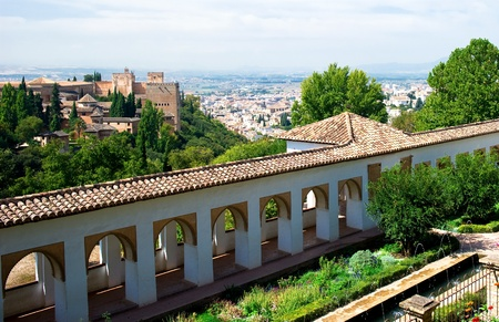 andalusia: Alhambra palace and view of Granada city, Spain