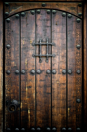 closed door: Ancient wooden door