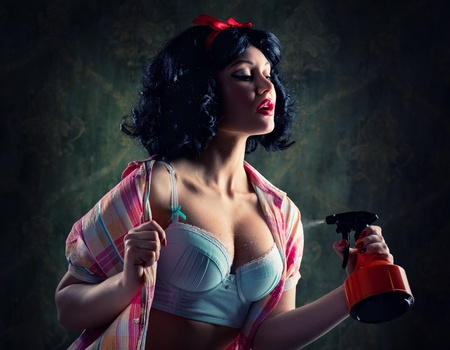 Pin-up girl holding spray bottle  photo