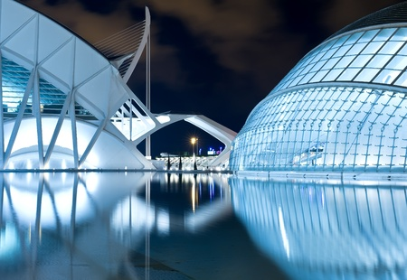 architectural lighting design: Valencia, Spain - September 26: Night scenery of City of arts and science Editorial