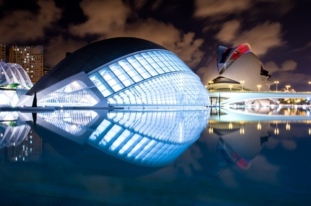 Valencia, Spain - September 26: Night scenery of City of arts and science