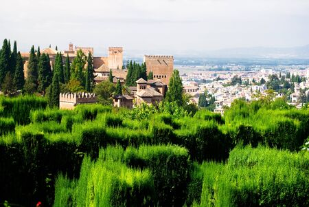 andalusia: Granada, Spain, September 28, 2011: Alhambra palace and view of Granada city, Spain