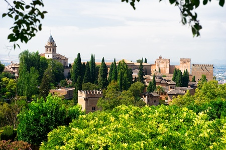 Granada, Spain, September 28, 2011: Alhambra palace and view of Granada city, Spain