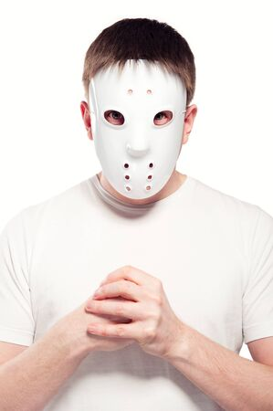 Man wearing hockey mask  photo