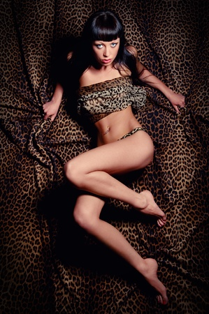 leopard print lingerie: Sexy brunette lying on a leopard print fabric Stock Photo