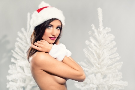 Beautiful female wearing christmas hat posing over winter background photo