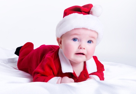 Adorable little santa baby photo