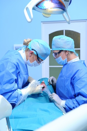 Dental implantation procedure photo