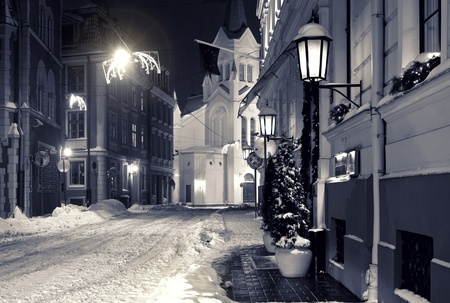 Night town in winter  Riga, Latvia photo