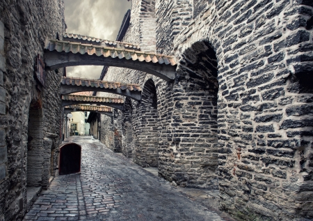 Street in old town in Tallinn, Estonia photo