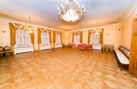 vintage mansion: Hall in Malpils Manor is ready for wedding ceremony