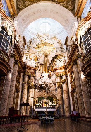 st charles: Altar at St. Charles church (Karlskirche) in Vienna